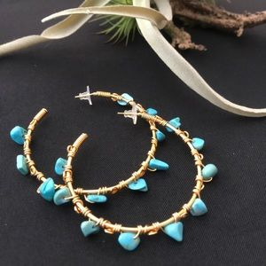 Jewelry - Turquoise and gold hoops
